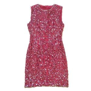 Vintage hot pink beaded sequin scallop edge dress